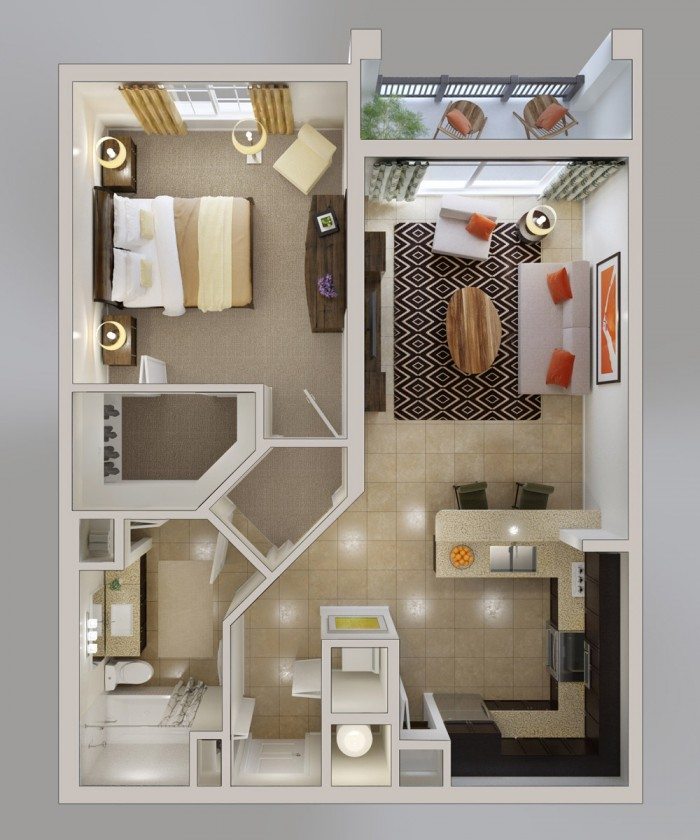 Perfect Want A One Bedroom With Plenty Of Kitchen Space? Then Youu0027ll Love This  Plan, Which Showcases A Gorgeous U Shaped Kitchen Complete With Breakfast  Bar, ...
