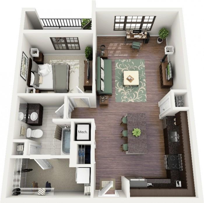 Lovely 1 BHK Home Design