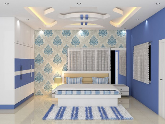 Bedroom Decor with false ceiling and wardrobe