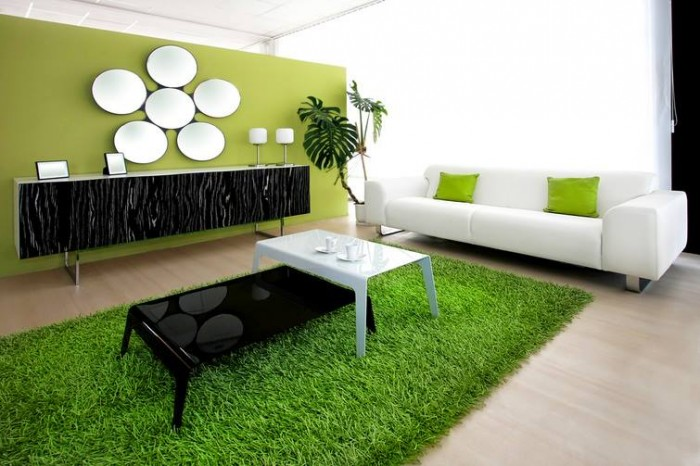 Vibrant Green And Gray Living Rooms Ideas 549