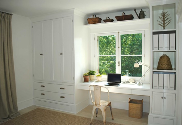 Captivating A Study Table Is Built Along With The Wardrobe To Save Space. This Design  Uses Teak Wood Which Has Been Spray Painted In White Color To Go With The  Bedroom ...