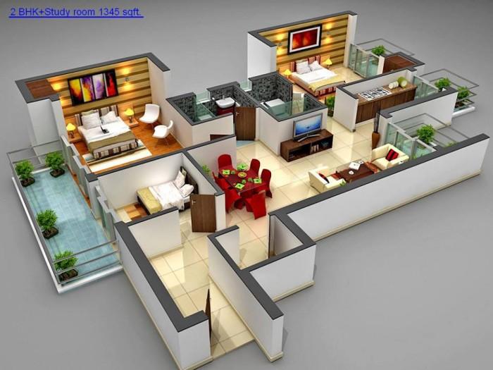 2bhk study room 1345sqft