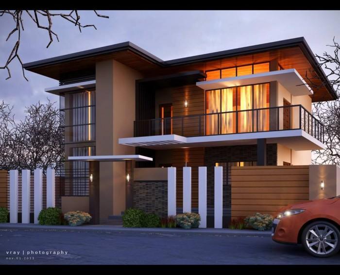 Elegant 2 story modern residential house visualized