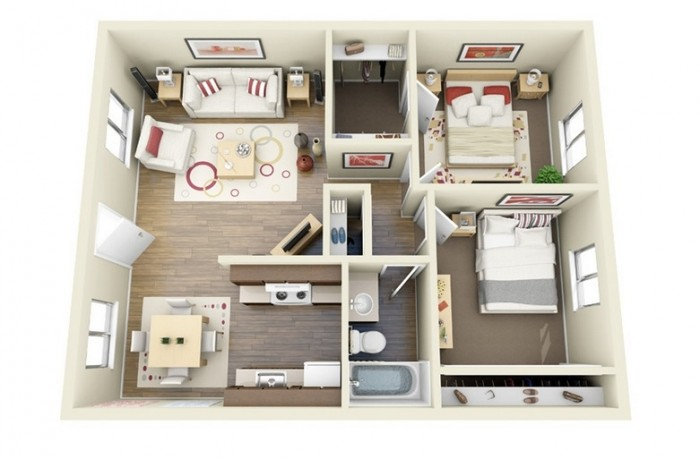 2 Bhk Home Design Plan Part - 33: Bright And Cheery, This Two Bedroom Is All About Incorporating Lightness  Into A Compact Design. Although The Rooms Are Small, They Donu0027t Sacrifice  On Style.