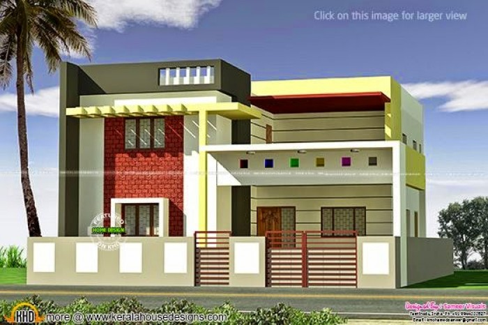 Flat Roof Tamilnadu House In 3360 Square Feet (312 Square Meter) (373  Square Yards). Designed By Sameer Visuals, Tamilnadu, India.