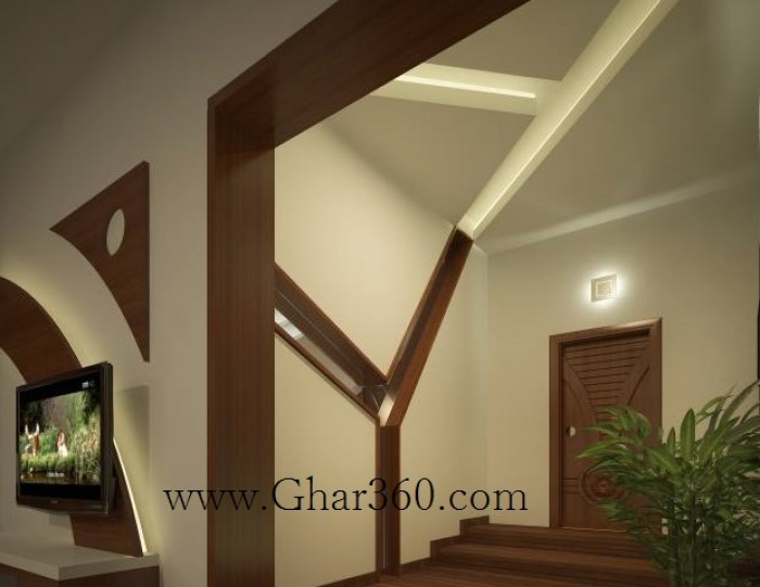 Foyer Designs : Foyer design with mirror and matching false ceiling