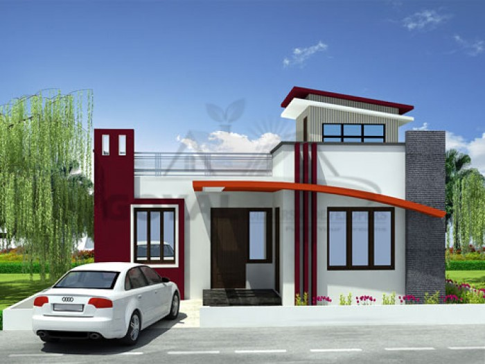 Contemporary Elevation Single Floor : Front house design single story home