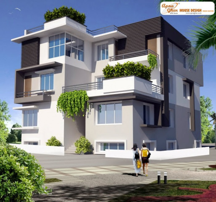 Front Elevation Of Triplex House : Triplex house design