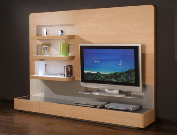 Wall Unit Wooden Furniture For Lcd