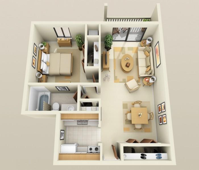 1 BHK Home Design