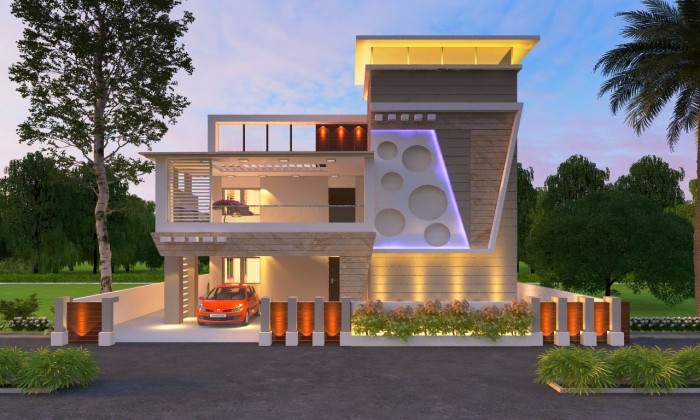 Indian best front elevation designs for Front exterior home design photo gallery