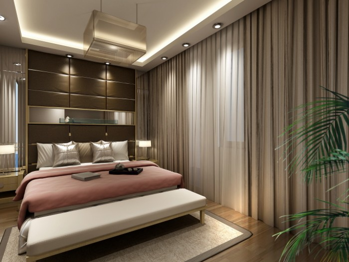 Master bedroom with pink white and brown color scheme for White and brown bedroom designs