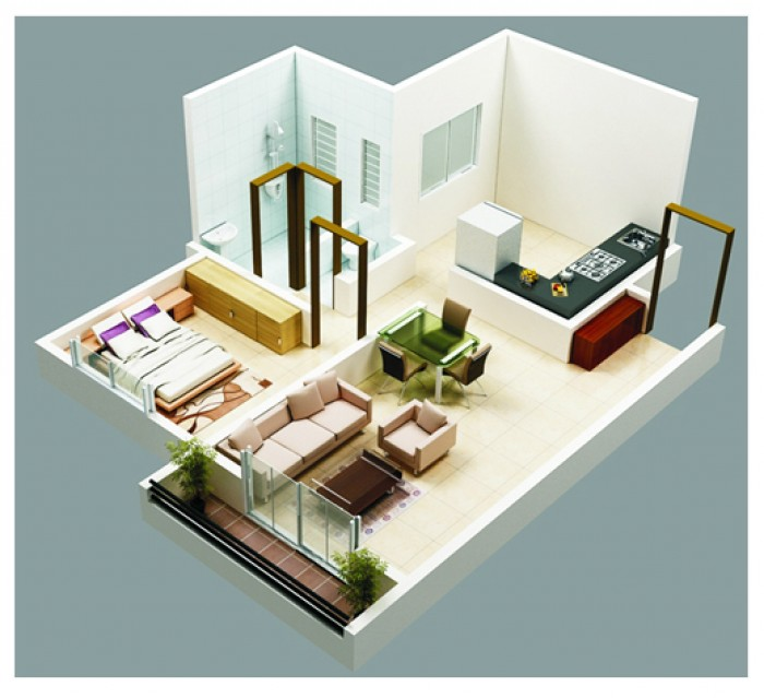 2 bhk plan for 1 bhk home designs