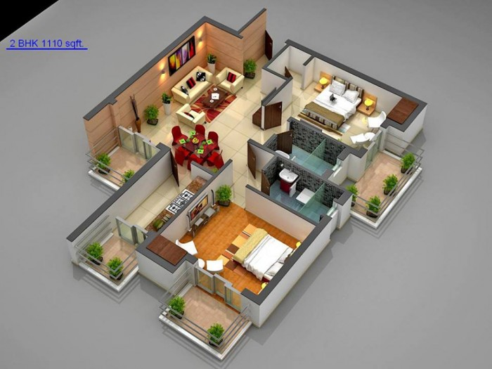 Ghar360 home design ideas photos and floor plans for Two bhk home plans