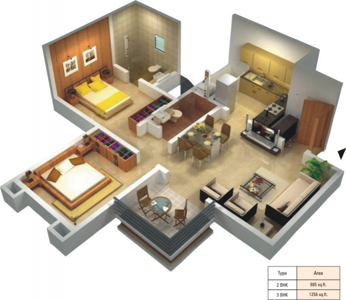 Home Design Ideas For Seniors: 2BHK
