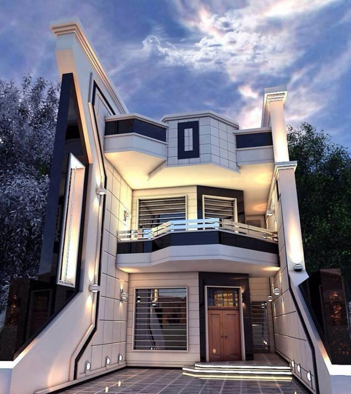 Contemporary two storey house exterior for Post modern house plans