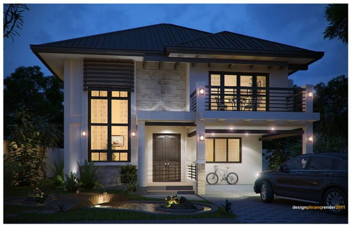 Modern residences exterior design idea for Big two story houses