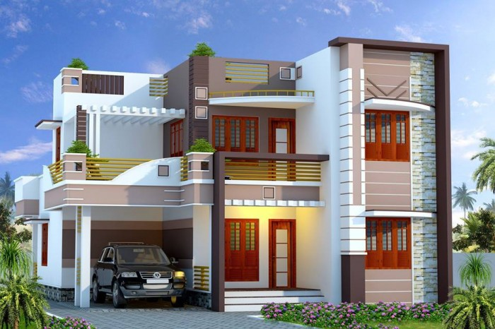 Front Elevation For Double Floor House : Simple and beautiful front elevation design