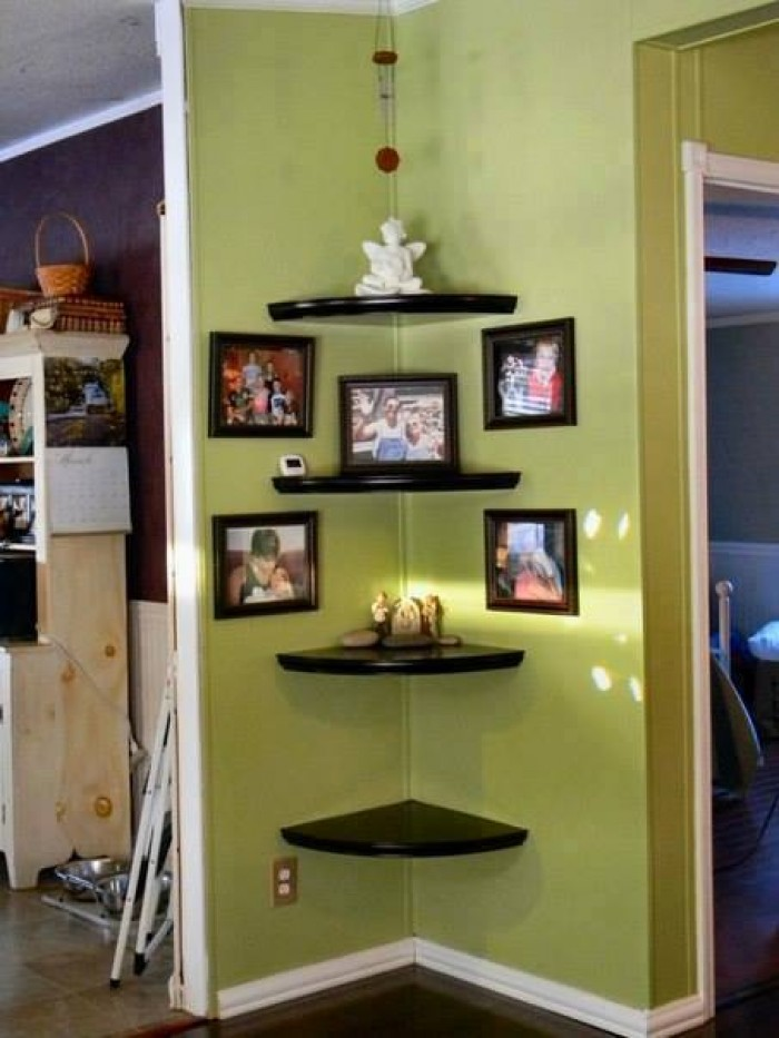 Creative Wall Corner Shelves: living room corner decor