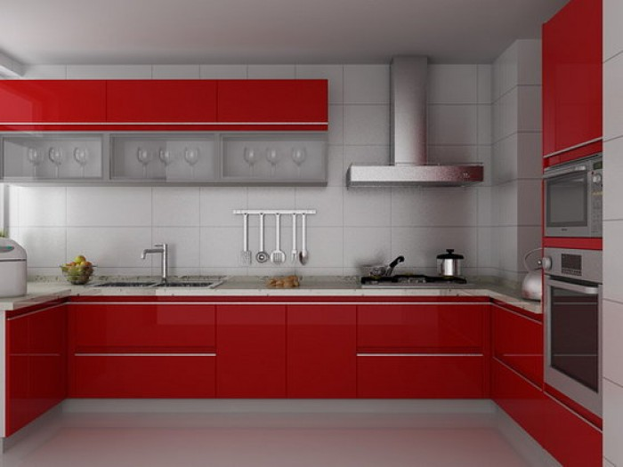 Modular Kitchen In Red And White Colour