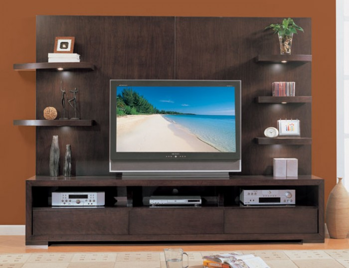 Modern wall tv unit design for Simple lcd wall unit designs